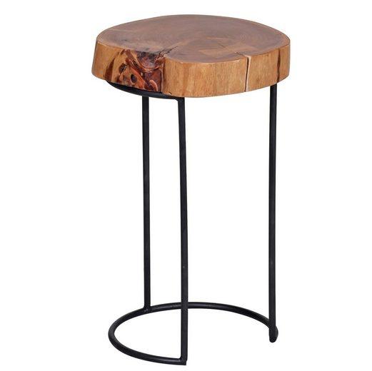 FINEBUY Beistelltisch »SuVa2504_1«, Beistelltisch Massiv-Holz Wohnzimmer-Tisch Metallbeine Landhaus-Stil Baumstamm-Form Echt-Holz (FSC® Mix)