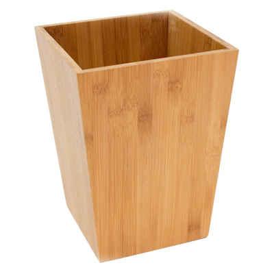 MSV Papierkorb »BAMBUS«, Mülleimer Abfallkorb aus echtem Bambus, für Bad, Wohnzimmer und Home Office, leicht und robust, hohe Kratzfestigkeit, natur, 19,6 x 19,6 x 26 cm, ca. 5L