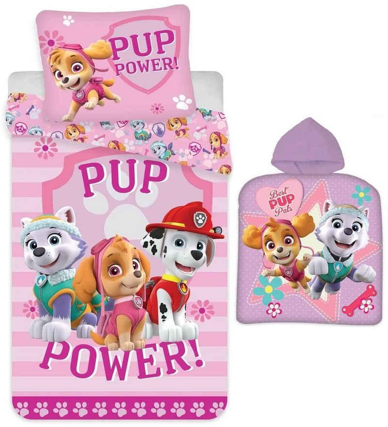 Babybettwäsche »PAW Patrol - Baby-Bettwäsche-Set, 100x135 und Poncho, 50x100 für Mädchen«, PAW PATROL, 100% Baumwolle