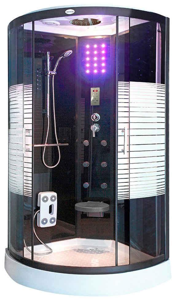 HOME DELUXE Komplettdusche »Black Pearl«, BxT: 90x90 cm, Sicherheitsglas, 1-tlg., mit Tropenbrause und Soft-Close-Funktion