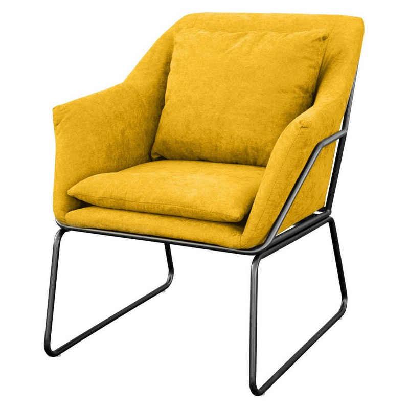 SVITA Cocktailsessel »JOSIE« (1-St., Loungesessel), großzügig gepolstert, inkl. Sitz- und Rückenkissen, Kissen mit Reißverschluss, Loungesessel, Stoffbezug
