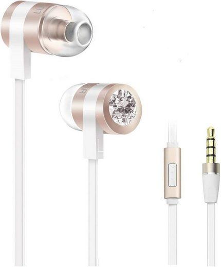 Luxear In-Ear-Kopfhörer (Luxear In Ear Kopfhörer mit Kabel, Noise Cancelling Ohrhörer mit Mikrofon, Moderne Stereo-Kopfhörer mit 3er Ohrstöpseln für Samsung Huawei Sony und alle Android-Handy, PS4, PC, Laptop - Gold)
