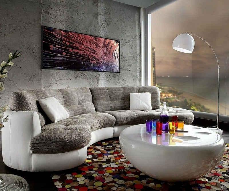 DELIFE Wohnlandschaft »Napoli«, Hellgrau Weiss 300x95cm Rundsofa inkl. Kissen Sofa