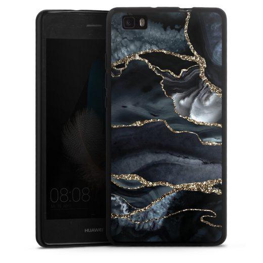 DeinDesign Handyhülle »Dark marble gold Glitter look« Huawei P8 Lite (2015-2016), Hülle Glitter Glitzer Look Gold