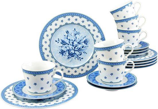 CreaTable Kaffeeservice »Country Blue« (18-tlg), Porzellan