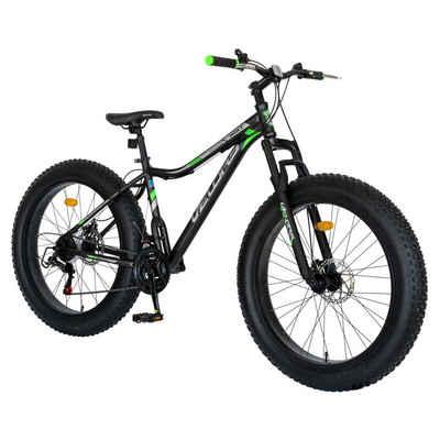 Velors Mountainbike »26 Zoll Fatbike Herren Damen Jungen Mountainbike Hardtail«, 21 Gang Shimano Tourney Schaltwerk, Kettenschaltung, Mechanische Scheibenbremse,Rahmenhöhe 43 cm Fat Tire Mountainbike