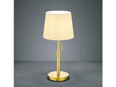 meineWunschleuchte LED Tischleuchte, Designer Tisch-Lampe Vintage Style, Messing, Höhenverstellbar, Schreibtischlampe Retro, mit Zug-Schalter