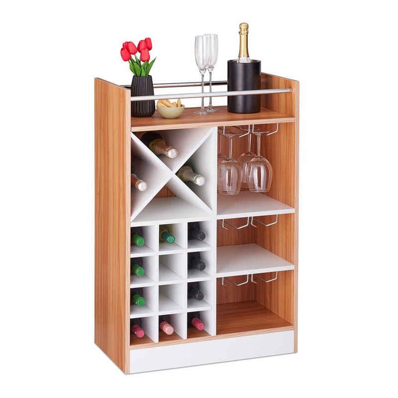 relaxdays Weinregal »Großes Weinregal mit Weinglashalter«