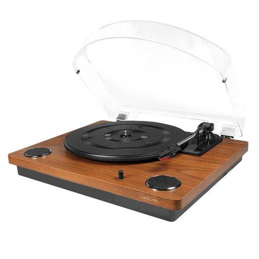 LogiLink »UA 0340 Schallplattenspieler mit Staubschutzhülle - Konverter / Digitalisierer zu MP3« Plattenspieler (Riemenantrieb, Vintage Design)