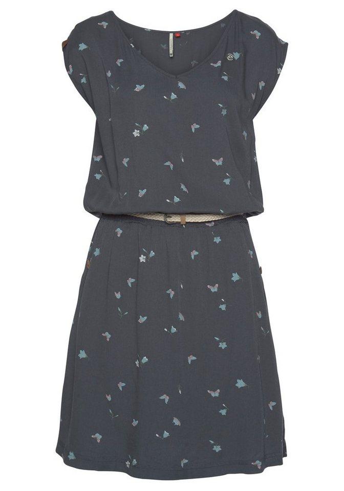 ragwear -  Shirtkleid »CAROLINA« (2-tlg., mit abnehmbarem Gürtel) inklusive Flechtgürtel und Butterfly Allover-Print