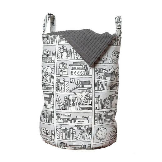 Abakuhaus Wäschesack »Wäschekorb mit Griffen Kordelzugverschluss für Waschsalons«, Gekritzel Bücherregal mit Sketchy