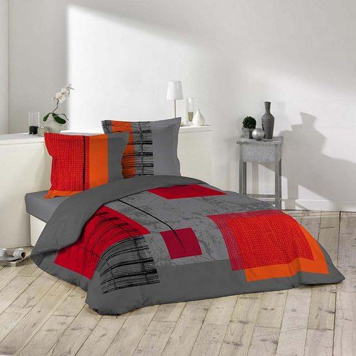 Bettwäsche, dynamic24, 3tlg. Bettwäsche 240x220 Baumwolle Übergröße Bettdecke Kissen Bettbezug