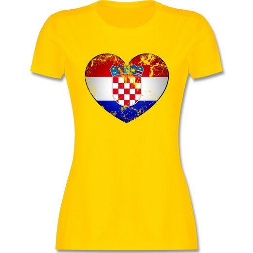 Shirtracer T-Shirt »Kroatien Vintage Herz - Damen Premium T-Shirt - T-Shirts« Fußball-Europameisterschaft 2021