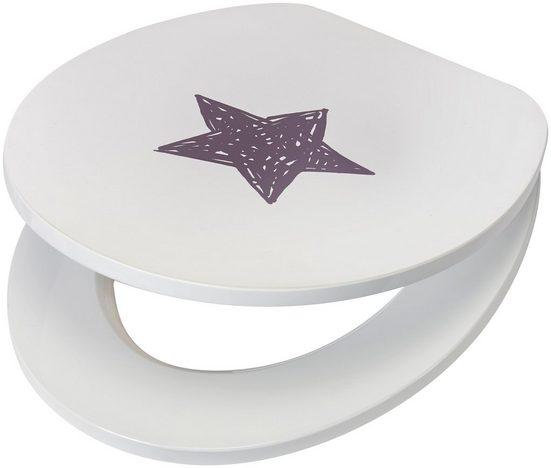 WC-Sitz »Star / Stern«, MDF Toilettensitz mit Absenkautomatik, grau weiß