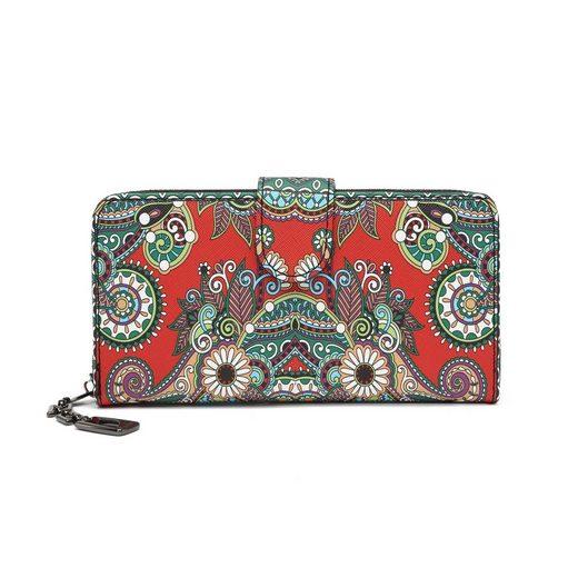 TAN.TOMI Geldbörse »Geldbeutel mit Blumen- und Blütenmuster im Mandala Stil« (Schöne und einzigartige Blumenmuster, große Brieftasche Dame), Praktische Aufteilung mit viel Platz,Lange Brieftasche mit Ausweisfenster,Damen Geldbörse mit vielen Fächern