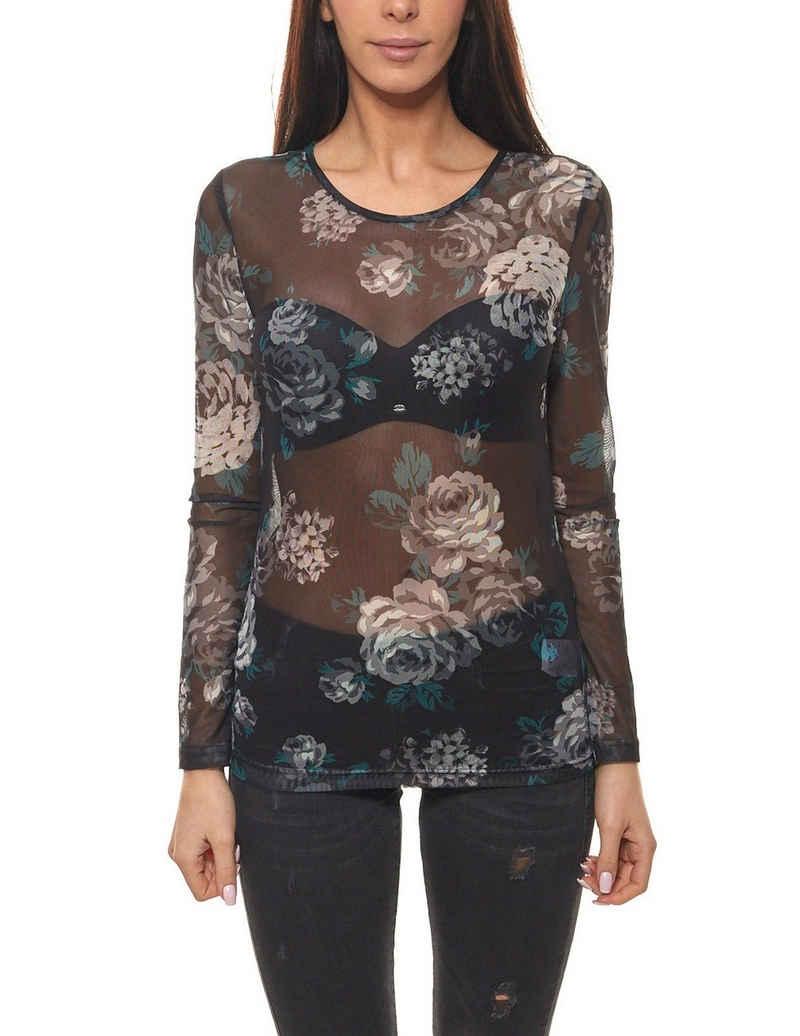 fransa Shirttop »fransa Shirt Mesh-Shirt modernes Damen Silvester-Shirt Ausgeh-Shirt mit Muster Schwarz«