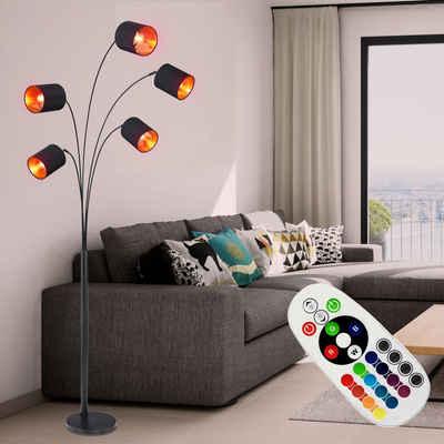 etc-shop Stehlampe, Steh Lampe Fernbedienung Textil Leuchte Decken Fluter beweglich SCHWARZ GOLD dimmbar im Set inkl. RGB LED Leuchtmittel