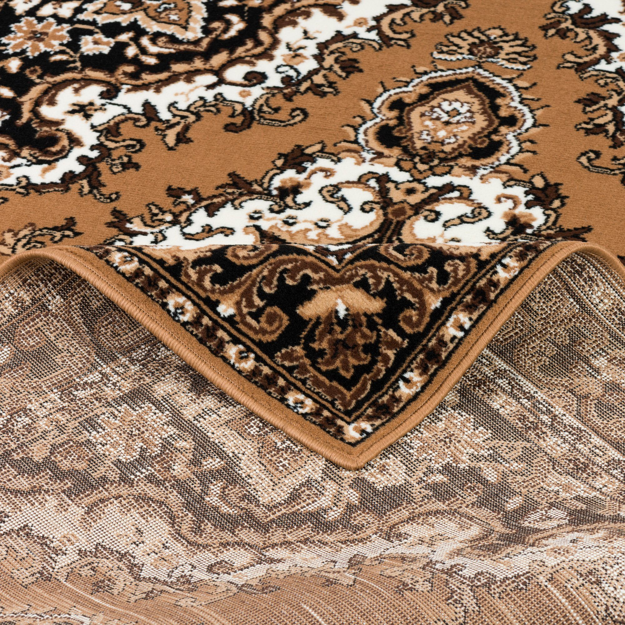 Orientteppich Orient Teppich Trendline Beige Keshan, Pergamon, Rechteckig, Höhe 8 mm online kaufen