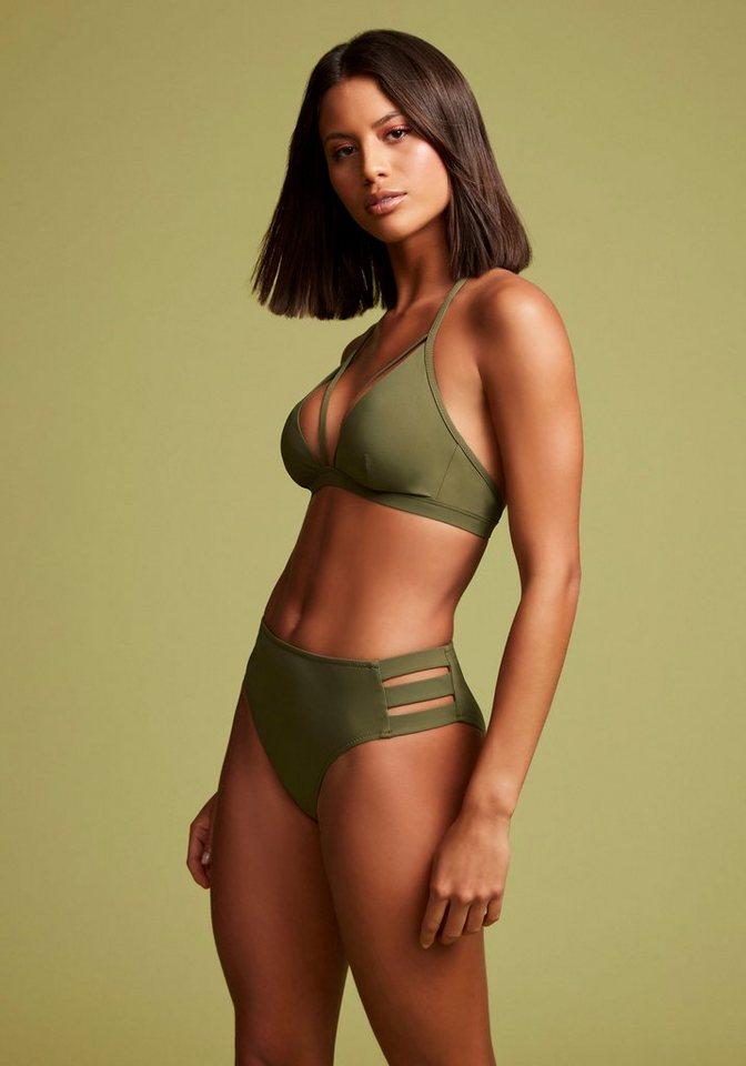 Bademode - LASCANA Highwaist Bikini Hose »Scarlett«, mit seitlichen Bändern › grün  - Onlineshop OTTO