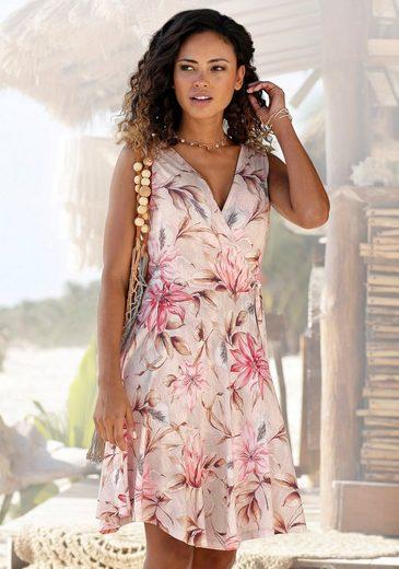 s.Oliver Beachwear Druckkleid mit Bindeschleife seitlich