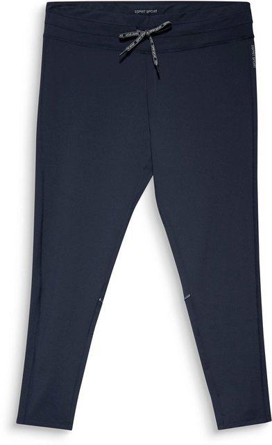 Hosen - esprit sports Funktionshose mit breitem Bund und Bindeband mit Logo Print › blau  - Onlineshop OTTO