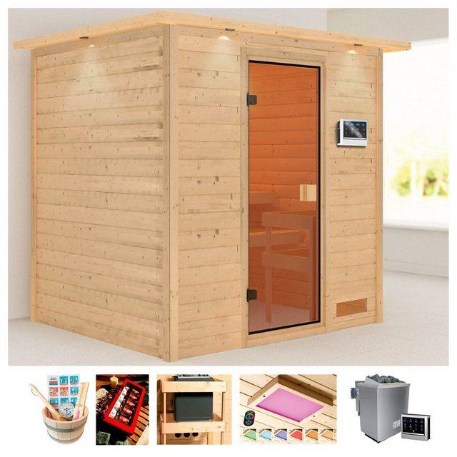 Saunen und Zubehör - KARIBU Sauna »Ricky«, 223x183x191 cm, 9 kW Bio Ofen mit ext. Steuerung, Dachkranz  - Onlineshop OTTO