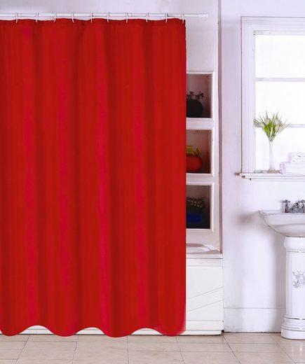 MSV Duschvorhang »Rot« Breite 180 cm, Breite 180 cm
