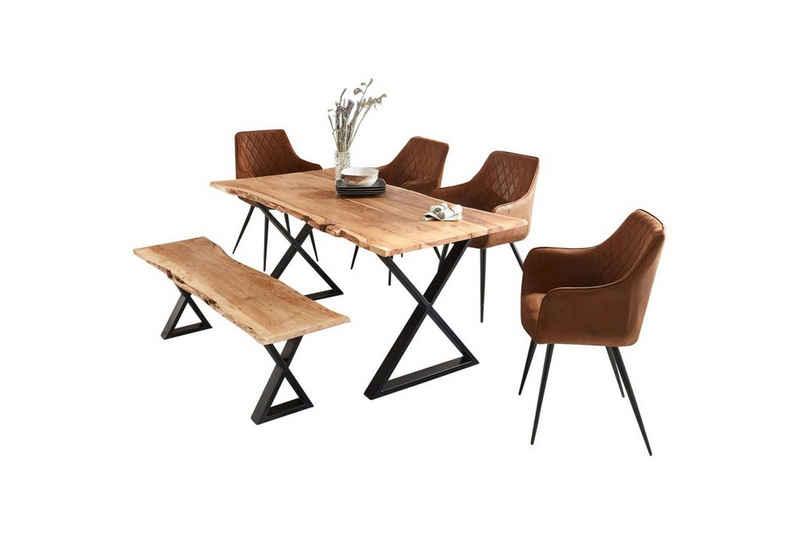 SAM® Essgruppe »Rubina«, Akazie Massivholz naturfarben natürliche Baumkante mit Sitzbank & 4x Armlehnstuhl Eliana