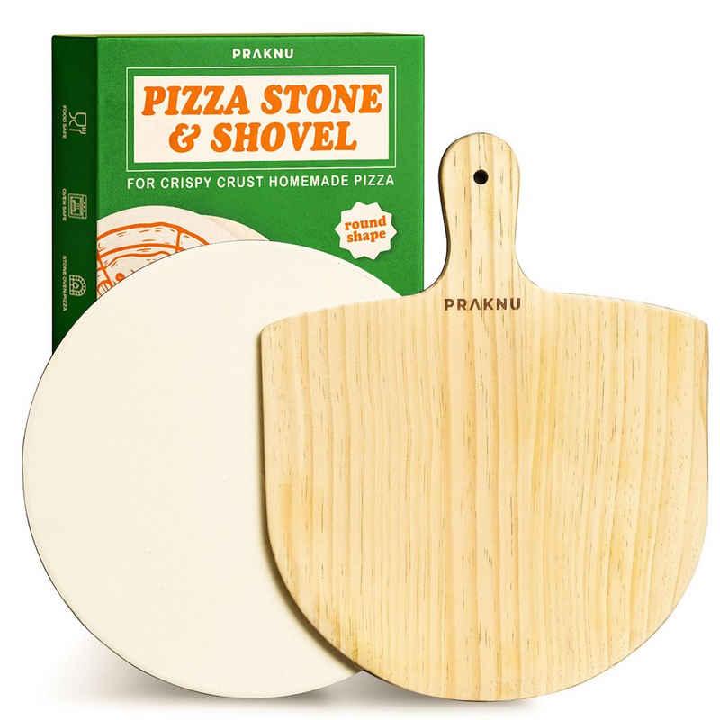 Praknu Pizzastein »Pizzastein Rund und Pizzaschieber im 2er Set«, Cordierit, (Set, 2-St., Pizzastein und Pizzaschieber Set), Steinplatte mit 30 cm Ø - Pizzaschaufel aus ganzem Holz