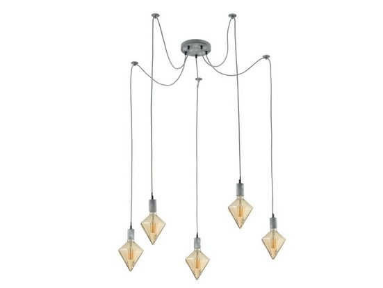 TRIO LED Pendelleuchte, Spinnen-Lampe Kronleuchter Retro Affenschaukel mehr-flammig mit 5 Glühbirnen, Edison Küchen-Lampe Esszimmer-Lampe in Grau Antik für über Esstisch Küchentisch mit extra langes Lampen-Kabel höhenverstel