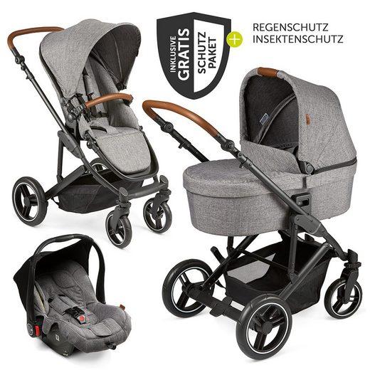 ABC Design Kombi-Kinderwagen »Catania 4 Circle Edition - Woven Graphite«, (11-tlg), 3in1 Kinderwagen-Set (Autositz, Babywanne, Sportwagen) - inkl. XXL Zubehörpaket