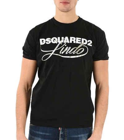 Dsquared2 T-Shirt »DSQUARED2 Designer T-Shirt glänzendes Herren Kurzarm-Shirt mit Logo-Print Sommer-Shirt Schwarz«