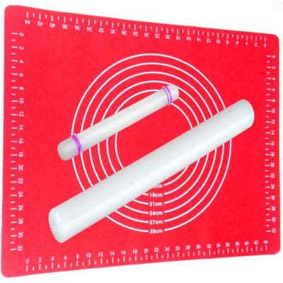Praknu Back-Set »Ausrollstab Set 43 cm+22 cm ROT MATTE«, (Set, Ausrollstab 43 + 22cm mit Backmatte Silikon rot), Silikon rot, Antihaft - Hitzebeständig, Teigroller mit Teigmatte 60x40cm Set