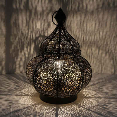 Casa Moro Nachttischlampe »Orientalische Tischlampe Asif Höhe 30 cm in schwarz mit E14 Fassung, Nachttischlampe aus Metall wie aus 1001 Nacht, Schöne Weihnachtsbeleuchtung Dekoration, LN2070«