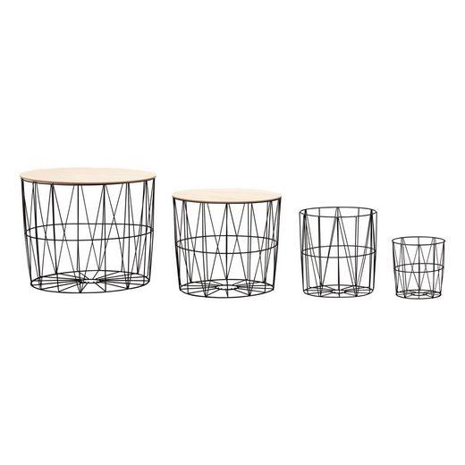 Wohnling Couchtisch »WL6.075«, Design Beistelltisch 4er Set aus Körben Schwarz / Eiche Moderne Korbtische mit abnehmbaren Tablett Satztisch 4-teilig mit Stauraum