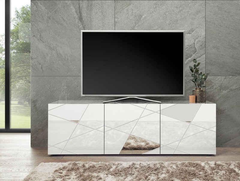 LC Lowboard »Vittoria Lowboard«, Breite 181 cm, Front mit Siebdruck und Spiegel