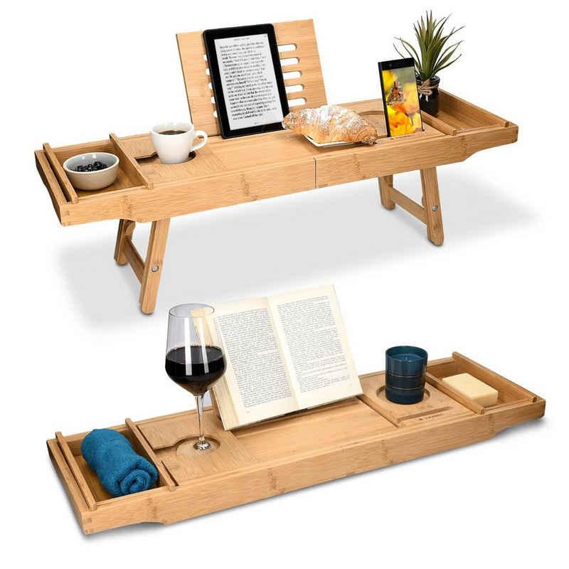 Navaris Badewannenablage, Tablett für die Badewanne Frühstückstablett - ausziehbar - Buch Ablage Weinglas Halterung - aus Bambus