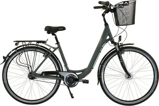 HAWK Bikes Cityrad »HAWK City Wave Deluxe Plus Grey«, 7 Gang Shimano Nexus Schaltwerk