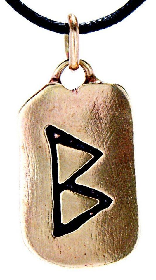 Kiss of Leather Kettenanhänger »Rune Runen Anhänger Bronze Buchstabe B Berkana Beorc Birke Wachstum«