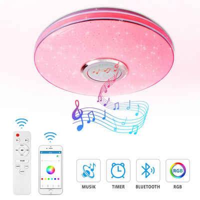 TYCOLIT LED Panel »home Deckenleuchte, Wecker,dimmbar, RGB,Sternenhimmel, mit Bluetooth Lautsprecher RGB LED Lampe Fernbedienung und APP-Steuerung,«, led deckenleuchte, Musiklichter