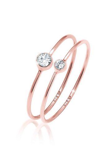 Elli Ring-Set »Solitär Swarovski® Kristalle (2 tlg) 925 Silber«, Solitär-Ring