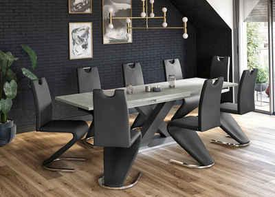 Esstisch »Komfort C«, mit X-Gestell in graphit und mit Auszugsfunktion, Breite 180-280 cm