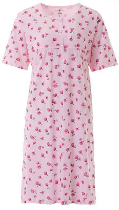 zeitlos Nachthemd »zeitlos Nachthemd Damen Kurzarm Blumendruck Knöpfe Übergröße Plus Size M - 6XL«