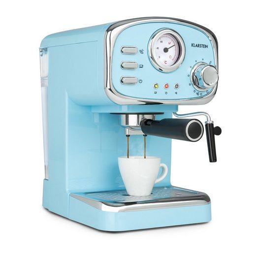 Klarstein Espressomaschine Espressionata Gusto Espressomaschine 1100W 15 Bar Druck, 0l Kaffeekanne