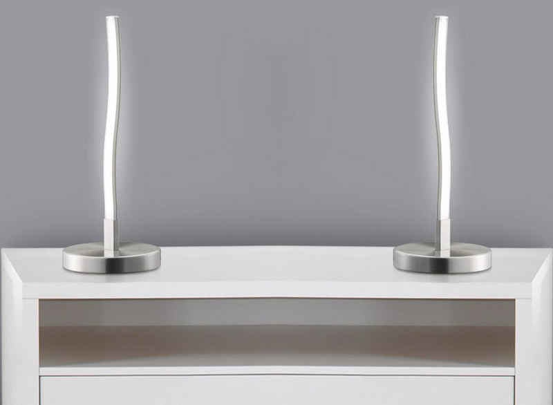 TRANGO LED Tischleuchte, 2er Pack 2017-91-2 Design LED Deko-Tischleuchte wellenförmige *WAVE* Lichtleiste geschwungen Form Tischlampe, Nachttischlampe, Lampe inkl. 6 Watt - 400 Lumen LED Leuchtmittel 3000K warmweiß