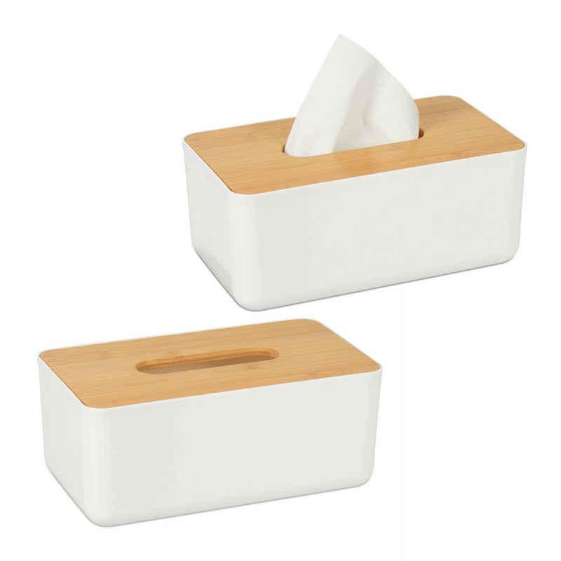 relaxdays Papiertuchbox »2 x Tücherbox mit Bambus-Deckel«