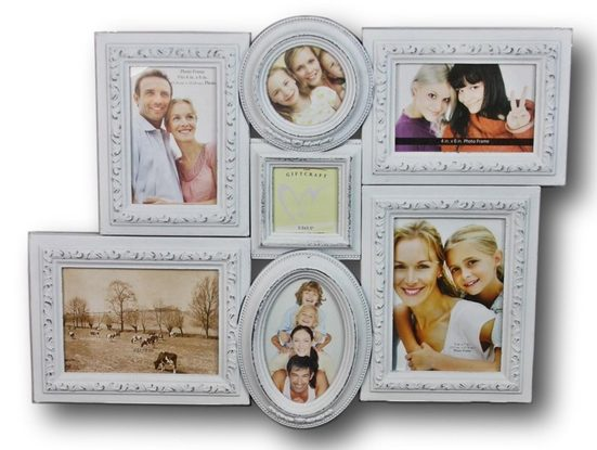 elbmöbel Bilderrahmen »Bilderrahmen weiß collage Holz«, für 7 Bilder, Wandbilderrahmen: 7er Collage 57x52x3 cm Barock weiß antik