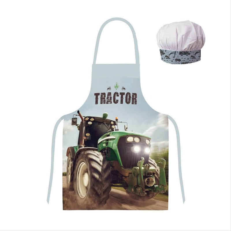 TOP! Kochschürze »Traktor - Kinderschürze für Jungen, 45x55 cm«, (Kinderschürze, one size), 100% Polyester