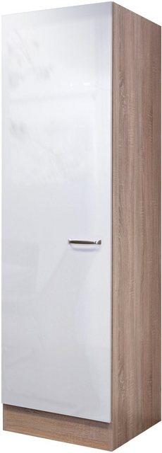 Flex-Well Exclusiv Geschirrschrank Valero 50 cm Hochglanz Weiß-Sonoma Eiche