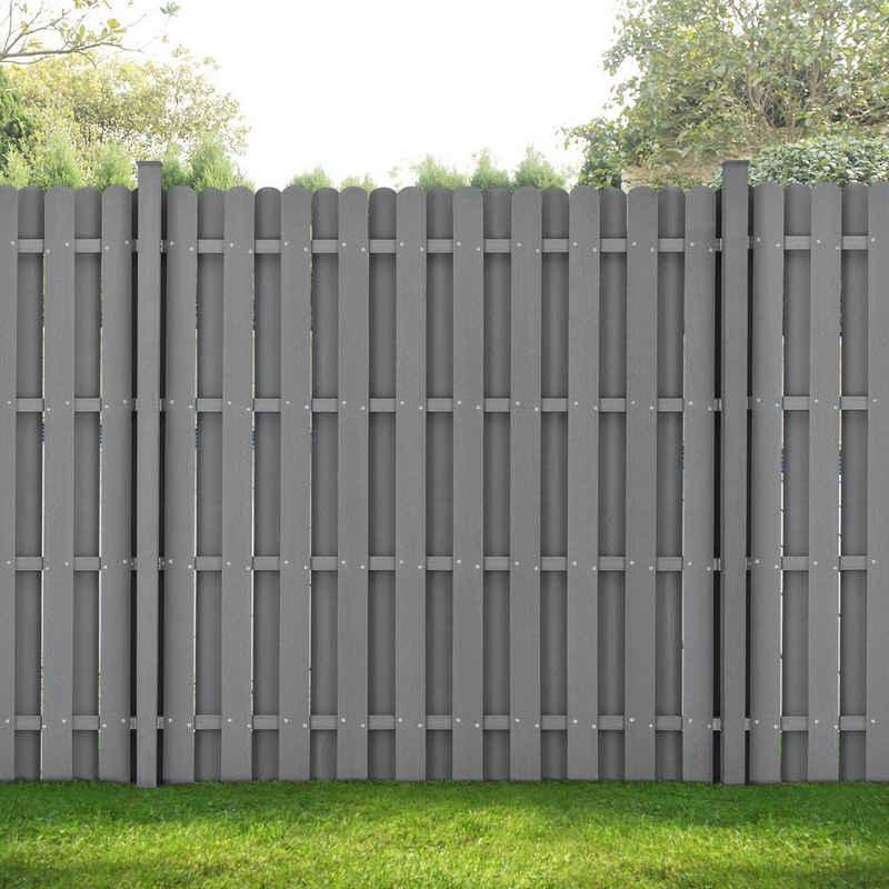neu.holz Gartenzaun, (mit Pfosten), »Langreo« Lamellenzaun WPC Sichtschutz 185x376cm Grau